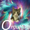 Cat in space with the text OrguMiMi below