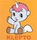 Unico, the tiny white unicorn, happily announcing Kleptomaniac Can Opener.
