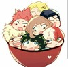 Main characters from My Hero Academia, arranged in a bowl together.