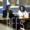 Lestrade & Donovan from Sherlock with BFFs written