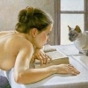 A topless woman slumped on a book and looking at a cat, my usual position