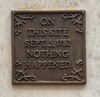 "A commemorative plaque that says ""On this site, Sept.5, 1782, nothing happened."""