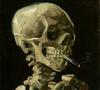 skull with cigarrete