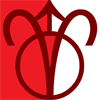 AriesOnMars icon, the zodiac symbol for Aries connected to the planetary symbol for Mars on a white and red background