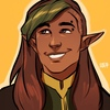 A light brown-skinned elf smiling. He has dark brown hair with a green streak in his bangs a piercing in his left eyebrow, and is shown against a mustard-yellow background.