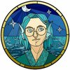 a stained-glass style portrait of a person with wavy blue hair and a sea/stars aesthetic theme