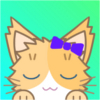 Blonde cartoon cat with purple hairbow