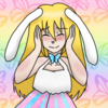 A cute girl with blond hair, blue eyes, bunny ears, and a cat tail. She wears a butterfly-themed dress in the trans pride colors, with a matching choker. The background is a rainbow butterfly pattern.