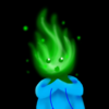 a green (phyre/fire) in a blue hoodie