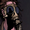 It's a drawing of a comic character in a gasmask.