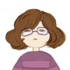 undertale fallen child!gladdecease - white, chin-length brown hair, glasses, purple shirt
