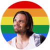 Bucky Barnes in front of Pride Flag