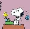 Snoopy sitting in front of his typewriter and throwing away a crumbled paper with eyeroll, with Wookstock sitting on the typewriter watching.