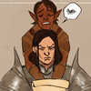 A picture of the author's Grey Warden, Padril Mahariel, who is slumped over Loghain Mac Tir's shoulders and complaining.