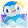 Piplup in front of an edited Non Binary flag with sparkles and shines on it.