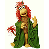 A Fraggle Muppet with Red Fraggle's coloring and Mokey Fraggle's shape and clothing.