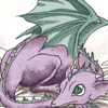 a purple baby dragon with green wings