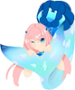 pink haired mermaid with blue tail and dress