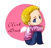 a drawing of Clint Barton, chibi style, as a cherubin.