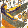 Maat, ancient Egyptian goddess, in profile