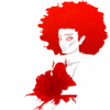 A red monochrome illustration of a woman holding flowers, right-aligned.
