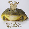 "Frog with crown on its head, with text: ""Ribbit."""