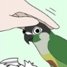 This icon is of a bird receiving a pat on the head