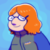 Cartoon styled self portrait of the author, Ariel, a chubby glasses wearing redhead with a blue jacket.