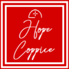 Red background with white border, inside which 'Hope Coppice' is written in script font. Logo at top formed of an arc and a crosshairs-type shape.