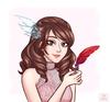 Brunette holding a red feather