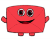 Drawing of a smiling red envelope, with chibi arms and legs and OTW symbols for eyes