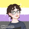 id: picrew of a white person with short brown hair and glasses, on a bg of the nonbinary pride flag.