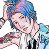 Chloe Price (Life is Strange) in a powder blue tuxedo with ruffled, sleeveless tuxedo shirt
