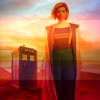 A drawing of the thirteenth Doctor from Doctor Who. She is looking off into the distance.