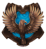 a raven with wings spread over a blue and bronze house emblem