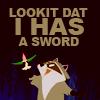 Pocohontas: racoon with hummingbird sword.