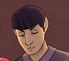 Spock looking down with a calm expression.