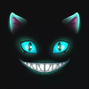 Disembodied cat eyes, mouth, and ears grinning from darkness