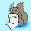 Cartoonish drawing of a squirrel holding a scroll and a quill, poised to write.
