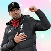 Takumi Minamino in Liverpool shirt against solid beige background with kloppinthekop in calligraphy script overlaid in white