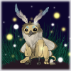 A digitally-drawn picture of a small gryphon with moth wings and antennae, sitting in the grass.