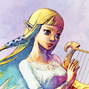 [ID: An icon of Princess Zelda from Skyward Sword, shown from chest up, with a pink background. Her head is turned to the left. She is smiling at something offscreen.]