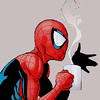 Spider-Man with steaming coffee mug