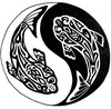 "A black and white koi fish defined in a ""tribal"" drawing art style swimming around each other with a Yin and Yang sign behind them. The black fish is on the white half, the white one on the black half."