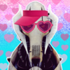 General Grevious from Star Wars wearing pink heartglasses and a pink sun visor on a background that is a blue to pink glittery fade with pink hearts on top.