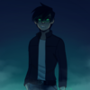 Fanart of Danny phantom with his eyes glowing green and the background dark blue.