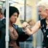 Slayer Nikki Wood fights Spike on a subway train (BtVS)