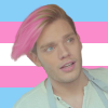 Jace Lightwood with pink hair over the trans flag