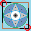 Stylized depiction of an eye inside of a box