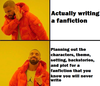 Actually writing a fanfiction *refusal dab* / Planning out the characters, theme, setting, backstories, and plot for a fanfiction that you know you will never write *thumbs up*